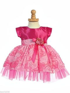 Baby Toddler Girls Fuchsia Pink Taffeta Ribbon Design Dress Easter Wedding 6M 4T