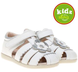 Little Blue Lamb Girls Kids Childrens Toddler Leather Sandals Shoes White