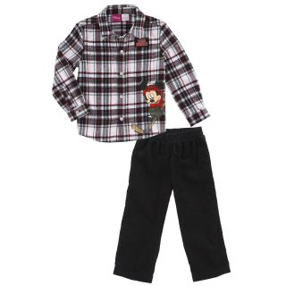 Disney Boys' Mickey Mouse Plaid Shirt and Pants Set