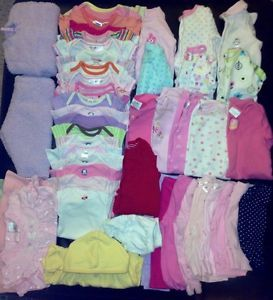 Infant Baby Girl Clothes Lot Size Newborn 0 3 Months Fall Winter 45 Pcs