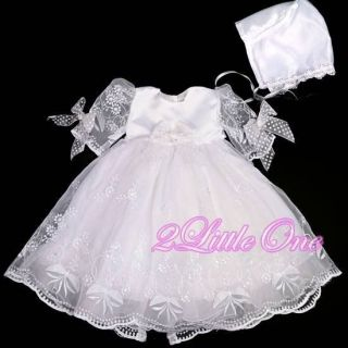 Baby Girl Infant Baptism Christening Dress Gown Bonnet Occasion Size 3M 6M 157