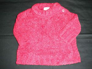 Baby Infant Girls Size 6 Months Red Silver Glitter Sweater Shirt Top Sparkle