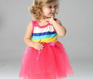 1pc Baby Girls Toddler Rainbow Top Dresses Party Tutu Clothes Outfit 4T Red