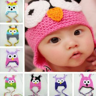 Cute Funny Baby Boy Girl Toddler Child Owl Knit Crochet Hat Beanie Cap Handmade
