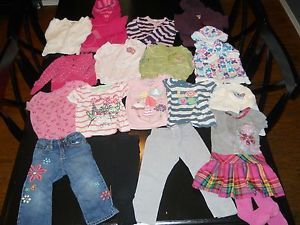 18 PC Lot Toddler Girls' Fall Clothes Jeans Dress Shirt Sweater Size 2T