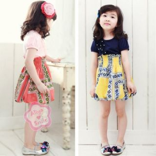 Girls Elegant Summer Floral Party Kid One Piece Dress Baby Clothing Sz 2 3 4 5 6