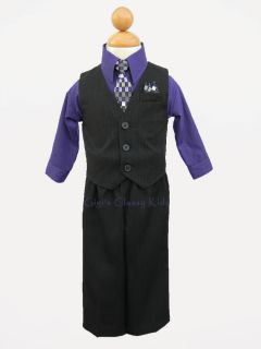 New Baby Boys Purple Black Suit Outfit Easter Christmas Formal Vest Holiday