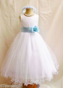 FL White Baby Blue Pageant Wedding Recital Bridal Formal Flower Girl Dress