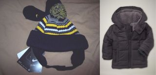 Lot 4pc Baby Gap Boys Coat 0 6 Nike Hat Mittens 12 24 Navy