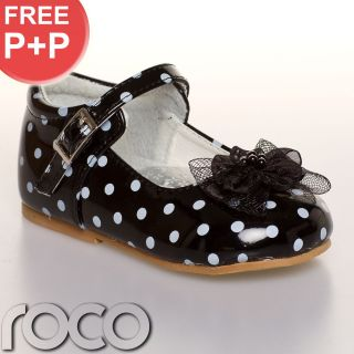 Girls Black and White Polka Dot Shoes Wedding Bridesmaid Party Shoes