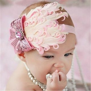 Baby Girl Infant Toddler Headband Feather Flower Headwear Hair Band 0282D Hot