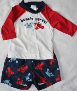 Gymboree Baby Boy 0 3 Swim Suit Trunk Rashguard Outfit Beach Party Lobster