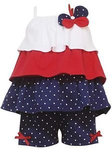 New Baby Girls Sz 18M RARE Editions Ruffle 4th of July Short Set Dress Clothes