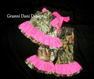 Mossy Oak Camo Camouflage Baby Girl Outfit Set Lot Pink Shirt Top Pants Ruffle