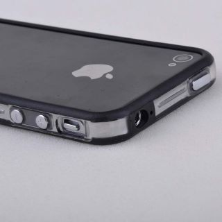 Black Clear Bumper Frame TPU Silicone Case Cover for iPhone 4S 4G w Side Button