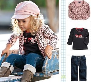 Girl Baby Kid T Shirt Leopard Coat Jeans Outfit Set Clothing Costume X2