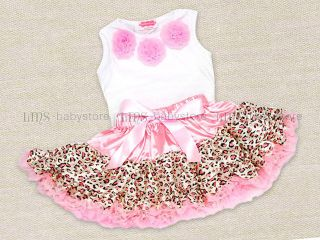 One Set Baby Girl Pink Leopard Petti Rosettes Top Skirt 2 3 4 Years