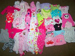 Huge 100 Piece NB 0 3 Month Baby Girl Clothes Lot Carters Old Navy