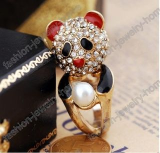 Fashion Dazzling Clear Crystal Imitative Pearl Gold Plated Lovely Panda Ring