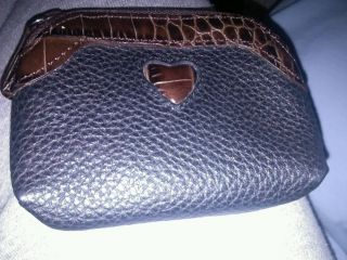 Brighton Black Soft PEBBLED Leather Coin Change Purse with Croco Brown Heart