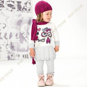 Baby Girls Kids Long Sleeve 1 6Y 2pcs Cat Sport Shirt Pants Cute Clothing FT42