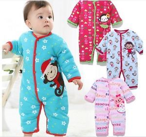 New Hot Baby Girls Boys Romper Coverall Clothes 1 Piece Winter Warm Size 0 12 M