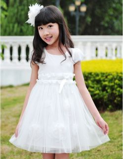 New Baby Girls Toddlers White Lace Kids Wedding Bridesmaid Flower Girl Dresses