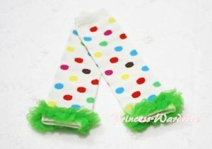 Baby Girls Rainbow Polka Dot White Leg Warmer Legging with Bright Green Ruffles
