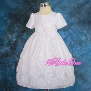 Sale White Embossed Flower Girl Dress Wedding Pageant Party Toddler Sz 3T 4T 122