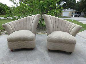 TLC Asymmetrical Pair 2 Chairs French Art Deco Fan Back Hollywood Regency Parlor
