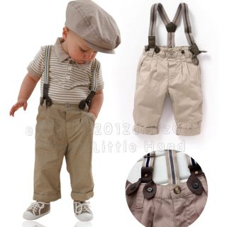 Boys Baby Toddlers Stripe T Shirt Top Bib Pants Overalls Gentleman Sets Outfit