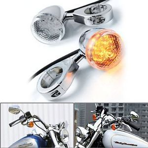 2X LED Chrome Turn Signal Light Indicator Front Motorcycle Amber Lamp Harley 1
