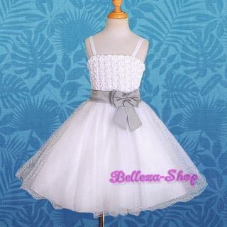 White Wedding Flower Girl Pageant Party Formal Occasion Dress Sz 2T 3T FG126