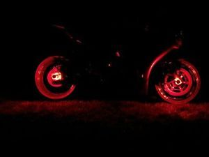 1 Red LED Motorcycle Wheel Light Custom Rim Glow Pod Accent Lite Sport Bike VF