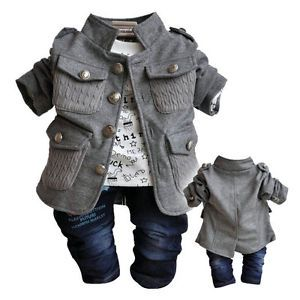 Fall Baby Boys Clothes 3pcs Suit Tshirt Pants Boys Outfit Kid Clothing Set