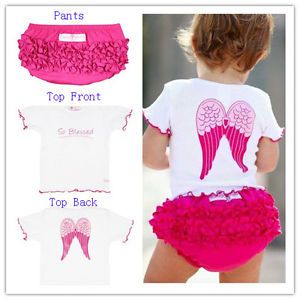 2pcs Baby Girl Infant Toddler Angel Top Ruffle Pants Shorts Set Clothes Outfit
