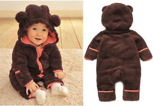 Baby Babys Girls Warm Winter Animal One Piece Fleece Jacket Coat Outfit Clothes
