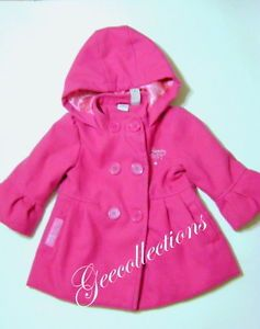 "Disney Princess Toddler Girl's Pink Double Breasted Winter Coat w Hood 24M ""EUC"