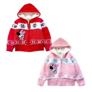 2 8 yrs Toddler Kids Girls Minnie Winter Warm Fleece Hooded Jacket Coat AB3902