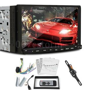 "Double 2 DIN 7"" Car DVD CD  Player Touch Screen in Dash Stereo Radio Camera"