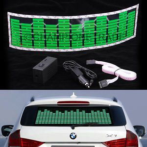 Green Car Music Rhythm LED Flash Light Sticker Sound Activated Equalizer New X1