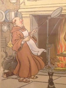 Harry Eliott Signed Antique Stencil Watercolor Pochoir Franciscan Monks Cooking