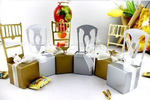 New 100pcs Wedding Boxes Gift Favor Banquette Chair Candy Box Ribbon Small Bell