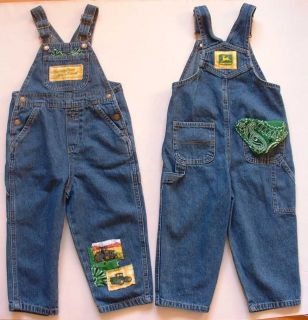 New John Deere Bib Overalls Blue Denim Jeans Kids Toddlers Boys Girls