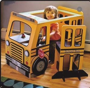 Kids School Bus Play Center Table Chair Desk Furniture Playset Pretend