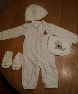 Carters Infant Baby Boy Bear One Piece Set Bib Hat Slippers 9 Months NWOT