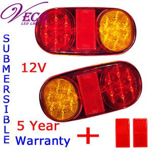 LED Tail Light Lamp Trailer Boat Car 12V Reflectors Parts Automotive Truck