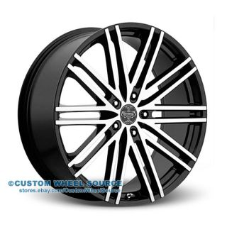 "24"" Versante 227 Black Wheels Tire Package for Chrysler Chevrolet Dodge Ford"