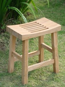 "Teak Wood 16"" Single Curved Seat Shower Bath Room Pool Spa Stool Bench"