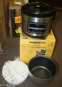 Presto 05813 16 Cup Electric Digital Stainless Steel Rice Cooker Food Steamer